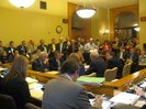 Legislators, lobbyists, media fill House-Senate tax conference committee meeting.