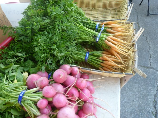 Carrots, radishes and lots of local greens are will be available this week at Cottin's Hardware Farmers Market.