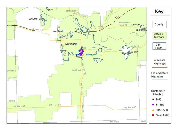 Westar Energy map of reported outages in Lawrence. Current as of 2:58 Friday morning.