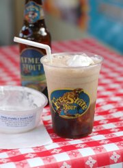 Oatmeal Stout Float — with Free State beer and Iwig ice cream — at Cottin's Hardware Farmers Market.