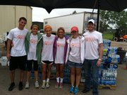 From left, current and future Kansas University students Bryan Neely, Morgan Hines, Logan Hassig, Regan Keasling, Chandler McElhaney and Stephen Hicks, who are all members of Christian outreach ministry Douglas County Young Life, volunteered with disaster-relief efforts this week in the Oklahoma City area after a devastating tornado there last week.