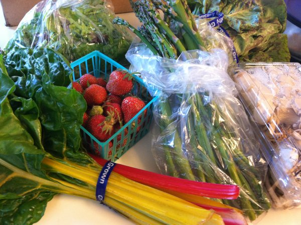 Swiss chard, strawberries, salad greens, asparagus, head lettuce and mushrooms.