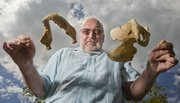 In this Journal-World file photo, KU anthropology professor David Frayer displays casts of a mandible and partial cranium found at the same site where he and other researchers found evidence of a tumor in a 120,000-year-old Neanderthal skeleton. It is the oldest evidence of a tumor ever found in the human fossil record, by about 100,000 years.