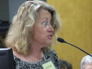 Free State High School science teacher Julie Schwarting urges the Kansas State Board of Education to approve the Next Generation Science Standards.