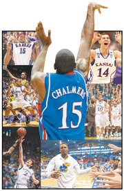 The top shooting guards in the Bill Self tenure at Kansas University, as recalled by the Journal-World and KUSports.com staffs, clockwise from top right: Tyrel Reed, Jeremy Case, Ben McLemore, Conner Teahan, Michael Lee, J.R. Giddens, and, at center, Mario Chalmers (and, yes, that is THE shot).