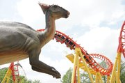 Step back in time to encounter over 35 life-sized (and very lifelike), animatronic dinosaurs, complete with thrashing tails, at Worlds of Fun with the amusement park's Dinosaurs Alive! experience.