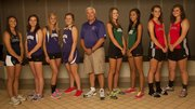 The 2013 Journal-World All-Area Girls Track & Field Team is: Emily Brigham, Mill Valley; Kaitlyn Barnes, Baldwin; Morgan Lober, Baldwin; Katie Kehl, Baldwin; Coach of the Year Ted Zuzzio, Baldwin; Bailey Sullivan, Free State; Athlete of the Year Alexa Harmon-Thomas, Free State; Matia Finley, Lawrence; and Rebecca Finley, Lawrence. Not pictured: Laura Kennard, Free State; and Jenny Whitledge, Tonganoxie.