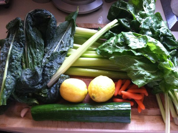 Juicing ingredients, including local swiss chard.