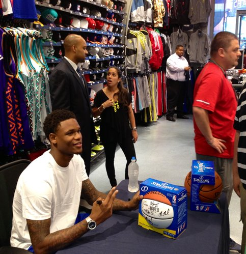 Ben McLemore poses for a photo after signing an autograph at Champs Sports in Times Square in New York City on Wednesday. Photo by Matt Tait.
