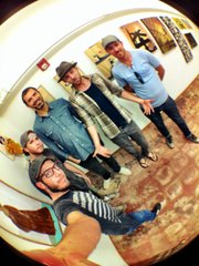 From left, artists Jeromy Morris, Erok Johanssen, Jesse Gray, Paul Flinders and Jeremy Rockwell are pictured at SeedCo Studios.