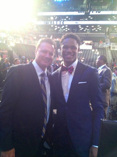 Kansas coach Bill Self and guard Ben McLemore pose for a photo before the draft.