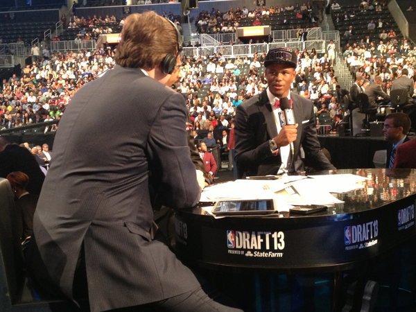Kansas guard Ben McLemore talks during an interview at the NBA Draft after he was selected No. 7 by the Sacramento Kings on June 27, 2013.
