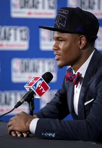 Kansas' Ben McLemore, picked by the Sacramento Kings in the first round of the NBA basketball draft, talks to reporters Thursday, June 27, 2013, in New York.