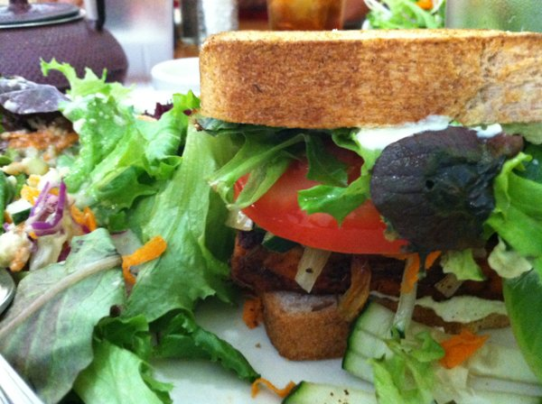 Massive, yummy tempeh sandwich from the Morning Glory Cafe in Eugene, Ore.