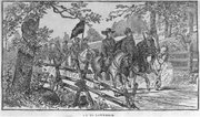 Image courtesy of KansasMemory.org, Kansas State Historical Society. On to Lawrence, by L. Braunhold, circa 1883. This illustration was copied from the book Life and Adventures of the James Boys, by Jay Donald.