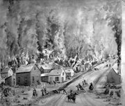 Image courtesy of KansasMemory.org, Kansas State Historical Society. Quantrill's Raid, black and white watercolor on paper, by Lauretta Louise Fox Fisk, circa 1866-1919.