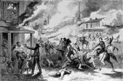 "Image courtesy of KansasMemory.org, Kansas State Historical Society. ""The Lawrence Massacre,"" black and white illustration of Quantrill&squot;s raid that appeared in the Sept. 5, 1863, issue of Harper&squot;s Weekly magazine. Artist unknown."
