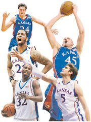 The top centers in the 10-year Bill Self era, as selected by the Journal-World and KUSports.com staffs, are, clockwise from top left: Sasha Kaun, Cole Aldrich, Jeff Withey, Darnell Jackson and Markieff Morris.