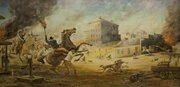 Lawrence Coffell painting of Quantrill's raid, date unknown. The image is reproduced courtesy of the Douglas County Historical Society, Watkins Community Museum of History, where the painting is currently in storage.