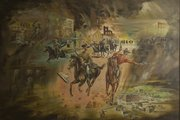 Alvin Howell painting of Quantrill's Raid, commissioned in 1966 for old Lawrence City Hall, title unknown. The image is reproduced courtesy of the Douglas County Historical Society, Watkins Community Museum of History, where the painting is currently in storage.