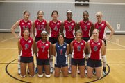 Kansas University junior outside hitter Sara McClinton (12) poses with her teammates during her recent trip with a USA Developmental team to China.