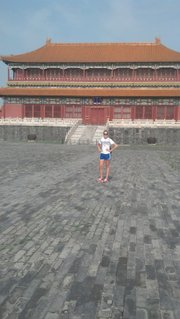 Kansas University junior outside hitter Sara McClinton poses at the Forbidden City during her recent trip with a USA Developmental team to China.