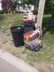 A Fourth of July celebration in the cul-de-sac of Bluestem Court produced a fair amount of fireworks related debris, which resident Matt McManis and neighbors cleaned up. McManis said he thought the appearance of litter might have contributed to a Lawrence police officer's decision to ticket him for violating the city's ban on fireworks.