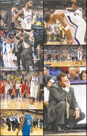 Scenes from some of the worst losses in the Bill Self era (we know it hurts): clockwise from top left, Self and Elijah Johnson (15) after a 2013 NCAA Tournament loss to Michigan; Marcus Morris hanging his head late in a tourney setback to Virginia Commonwealth in 2011; Bucknell players swarming the court after a first-round upset of KU in the 2005 NCAAs; Self unable to watch an unexpected loss at TCU five months ago; Tyshawn Taylor dejected after a regular-season loss at Missouri in 2012; Russell Robinson (3) getting out of the way of celebrating Bradley players after KU's first-round ouster from the NCAAs in 2006; and Self showing off his vertical in a second-round loss to Northern Iowa in 2010.