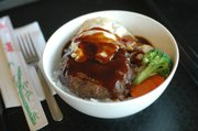 Hamburger-don rice bowl at Dondon, 2223 Louisiana St., Suite E