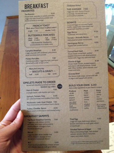 Breakfast menu at The Roost, 920 Massachusetts St.