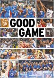 Some of the best games in the Bill Self era at Kansas: from left, from top row, The 2008 national championship against Memphis; A 2006 overtime thriller against eventual national champion Florida; Texas' Kevin Durant shines in Allen Fieldhouse in 2007; The 2012 Jayhawks advance past Ohio State in the Final Four; Kansas handles UAB in the 2004 NCAA Tournament; Acie Law and Texas A&M win at KU in 2007; Kansas slugs it out at home against Baylor in 2008; The eventual 2008 champs survive Steph Curry and Davidson; Wayne Simien and KU edge Oklahoma State in 2005; KU falls in a hard-fought game against Duke in 2011; The 2005 Jayhawks get revenge on Georgia Tech; KU sends away Tyler Hansbrough, Roy Williams and North Carolina from the 2008 NCAAs; and Kansas tops Missouri in an exciting finale to the Border War in 2012.