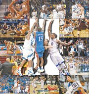 Scenes from some of the top comebacks in the Bill Self era at KU, counter-clockwise from top left: against Kevin Durant and Texas on March 11 (top) and March 3 (when Durant was hurt, below), 2007; versus Georgia Tech on Jan. 1, 2005; an upset ISU fan confronts Self on Feb. 25 of this year, and Ben McLemore (23) banks the tying three on Jan. 9, also against ISU; Thomas Robinson salutes after storming back against Ohio State on March 31, 2012; getting physical against Denis Clemente (21) and K-State on Feb. 14, 2009; Travis Releford lets out a roar against North Carolina on March 24, 2013; Tyshawn Taylor takes flight after a rally past Purdue on March 18, 2012; Mario Chalmers knocked to the deck by Southern Illinois on March 22, 2007; and a whole-team celebration after roaring past Oklahoma on Feb. 4, 2006. At the center are the consensus top comebacks in the Self era: the Mario Chalmers-led rally past Memphis in 2008, left, and Thomas Robinson-keyed comeback over Missouri in 2012.