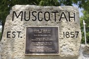 Muscotah is the birth town of the Hall of Fame Chicago Cubs shortstop Joe Tinker. The Atchison County town is also home of the World's Largest Baseball.