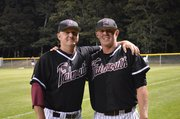 Lawrence High product Garrett Cleavinger, right, once again is playing for Lawrence High coach Brad Stoll. The two reunited — Cleavinger as relief pitcher, Stoll as third-base coach of the Falmouth Commodores of the Cape Cod League — this summer.