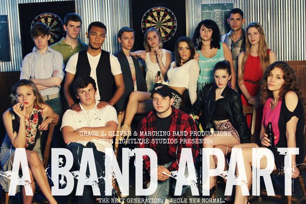 """A poster for the Miniseries """"A Band Apart"""" shows the ensemble cast. The miniseries was written, cast, directed and edited by recent Free State High School graduate Grace Oliver and was made with a no budget and a crew of volunteers. """"A band Apart"""" is a mature drama set in the year 2016 following the lives of 15 teenagers."""