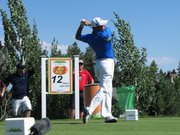 Gary Woodland hits his tee shot on the 429-yard, par-4 12th hole of the Reno-Tahoe Open on Sunday at Montreaux Golf Club. Woodland won the event, his second PGA Tour victory.