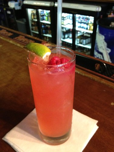 Fresh Raspberry Tom Collins, one of the cocktails available Mondays only at Jackpot Saloon.