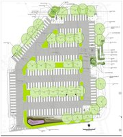 Schematics show plans for the revamped parking lot, which will include added vegetation to soak up rain water, as well as a rain garden at the south end. Photo courtesy of Kansas University.