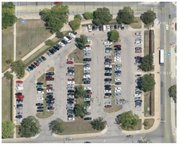 A satellite image shows Parking Lot 54, near Green Gall and west of Murphy Hall, before renovation began in the first week of June. Photo courtesy of Kansas University.