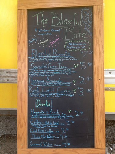 Last week's offerings at the Blissful Bite food truck, now serving lunch Monday, Wednesday and Friday at 11th and Massachusetts streets.