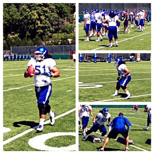 A collection of photos of KU linebacker Samson Faifili, a high-energy, juco transfer who opened Saturday's practice with a spirited Haka War Chant.