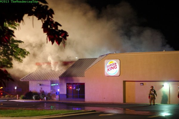 The Lawrence Burger King at 6th and Missoui streets caught fire early this morning. Photo credit: John Hamm