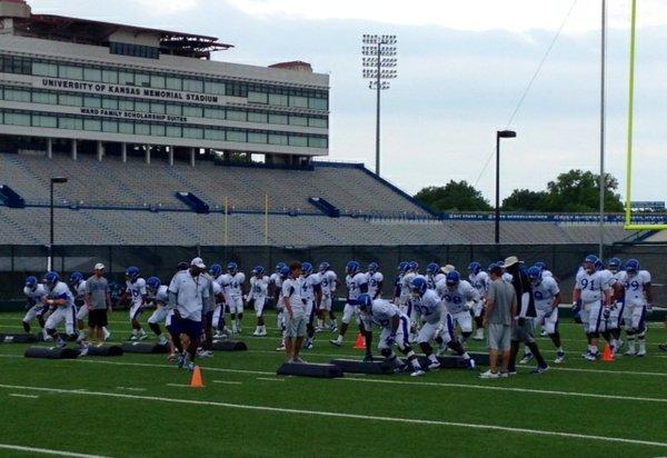 Buddy Wyatt's defensive linemen work on footwork drills at the start of Thursday's practice.