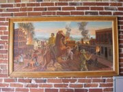 This painting of Quantrill's raid, painted in the 1940s or 1950s by Lawrence resident Paul Penny, now hangs on the Missouri side of the border, in relative David Alburty's office in Drexel.