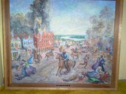 A painting of Quantrill's raid done by former Lawrence resident Addie Underwood Penny, mother of Lawrence artist Paul Penny. This painting now belongs to Addie Penny's granddaughter, April Bruce Stewart.