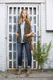 Elizabeth Kennedy's outfit for fall from Eccentricity, 716 Massachusetts St.: jeans, $139; chambray top, $78; vest, $70; bag, $30.