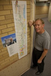 "Mike Harris, a paraeducator at Sunflower Elementary School in Lawrence, hiked the entire Appalachian Trail earlier this year. As he did, students at the school kept tabs on his progress with the help of this map and a ""Mr. Harris"" stick figure."