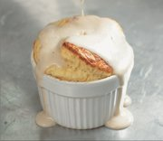 "Gorgonzola Soufflé with Pear-Walnut Sauce, from ""The Flavorful Kitchen Cookbook."""