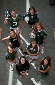 Some of the Free State High senior athletes competing this fall for the Firebirds are, clockwise from front left: Hannah Moran, gymnastics; Madison Williams, girls golf; Carl Palmquist, boys cross country; Stan Skwarlo, football; Morgan Knapp, volleyball; Alex Trent, boys soccer; Alexis Czapinski, girls tennis; and Bailey Sullivan, girls cross country.
