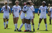 Kansas players celebrate a goal by Ashley Williams during Kansas' soccer match against Purdue, Sunday at the Jayhawk Soccer Complex.